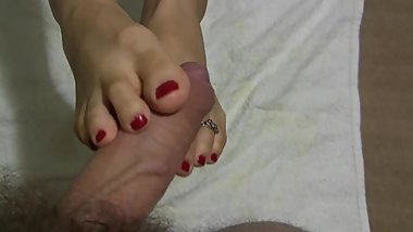 I like to show you my feets - Sexy Footjob - Black Socks - Red Nails Fetish