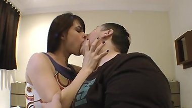 cute girl swaps spit with fat guy for half an hour straight