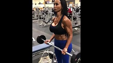 Jewels Jade Training Her Biceps