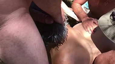 Outdoor Naked Gangbang in the Park - Cuckold Anal MILF Public Part 1 of 2