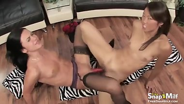 Lesbians double ended dildo fucking