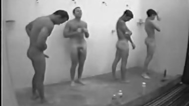Guy has a boner in locker room gang shower with other guys
