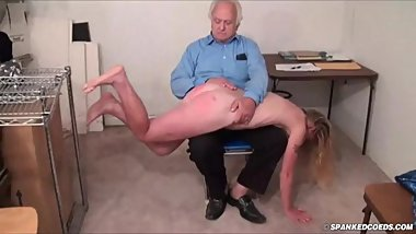 The flat-chested new submissive gets her first spanking (Part 1)