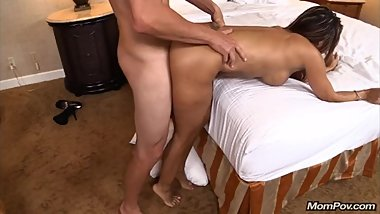 Phat Ass Latina Milf gets oiled up & pounded hard on the side of the bed
