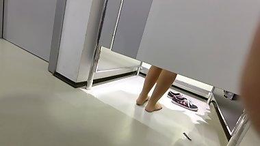My Catches -- Young Girl in Pantyhose in Fitting Room