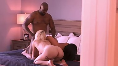 Interracial couple gets together with their blonde friend for hot threesome