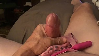 Jacking off on her panties while she watched