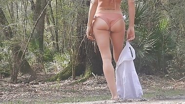 florida blonde desire striptease on public road gets topless in bikini