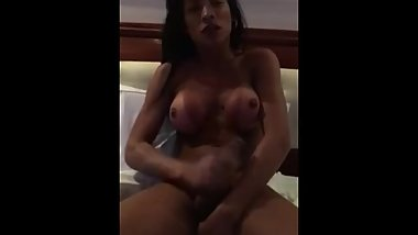 Sexy Brazilian Shemale Stroking Her Uncut Cock Until Cumshot