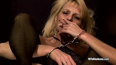 Smoking mature Wife Marie in wristbands gets her holes fucked