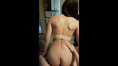 Asian girl bouncing on my cock