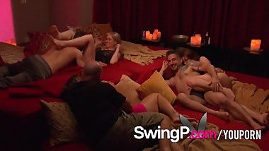 Swinger wife hopes her husband lets lose to enjoy swinger party