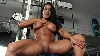 Sexy muscle girls posing nude.