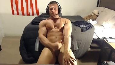 Cute handsome muscle stud jerking off