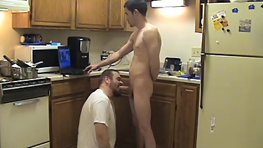 Kitchen Faggit Washes Dishes Drinks Piss sucks cum out of Str8 Thug Cock