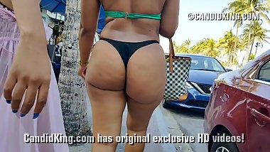 Huge big juicy booty walking in tiny thong bikini in public!