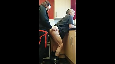 pegging british boyfriend in the kitchen he takes ass to mouth twice