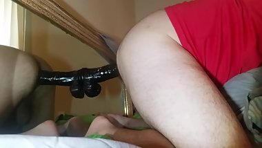 Gay Doggystle with Big Black Dildo