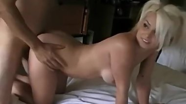 Cute busty blonde amateur films her first homemade porn