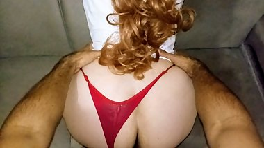 Fucking my stepsister juicy ass in panties red