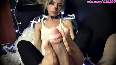 Cute girl gives blowjob and first nylon footjob (HD)