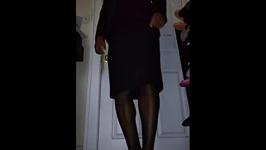 Crossdresser in a Business Skirt Suit