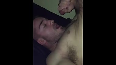 College boy licks cock and swallows his cum