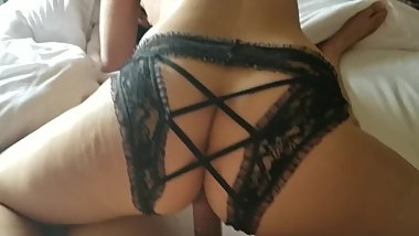 Amateur Latin couple reverse ride with sexy panties.