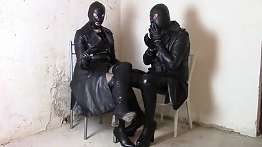 Sunday in leather coats: Mistress and sissy smoking in the leather